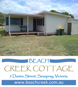Beach Creek Holiday Rental in Seaspray Gippsland Victoria for let